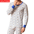Soutong  2016 New Fashion Printed Cotton Men Long Johns Men Thermal Underwear Sets Winter Warm Long Johns Suits Underpants qt02
