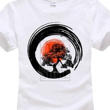 Camisetas Casual marca ropa camiseta mujer camiseta divertida manga corta  árbol caligrafía sol naciente Zen camiseta 466fc74e411