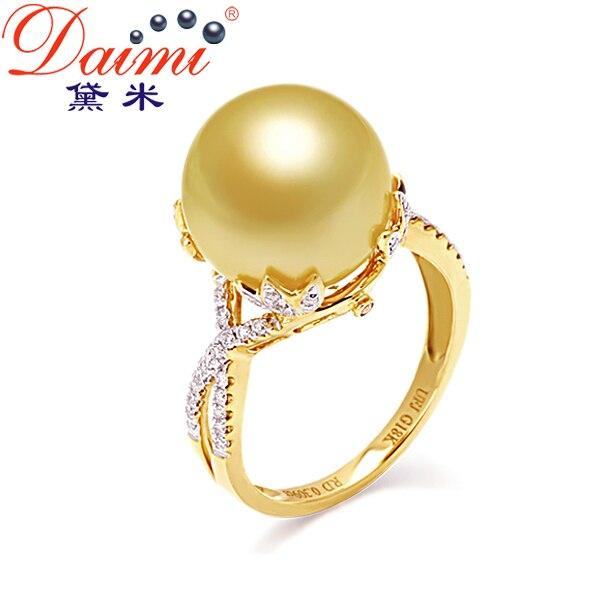 b3f03cc80 daimi 2014 novo big áfrica do mar pérola anel ouro 18k diamante pérolas,  qualidade superior