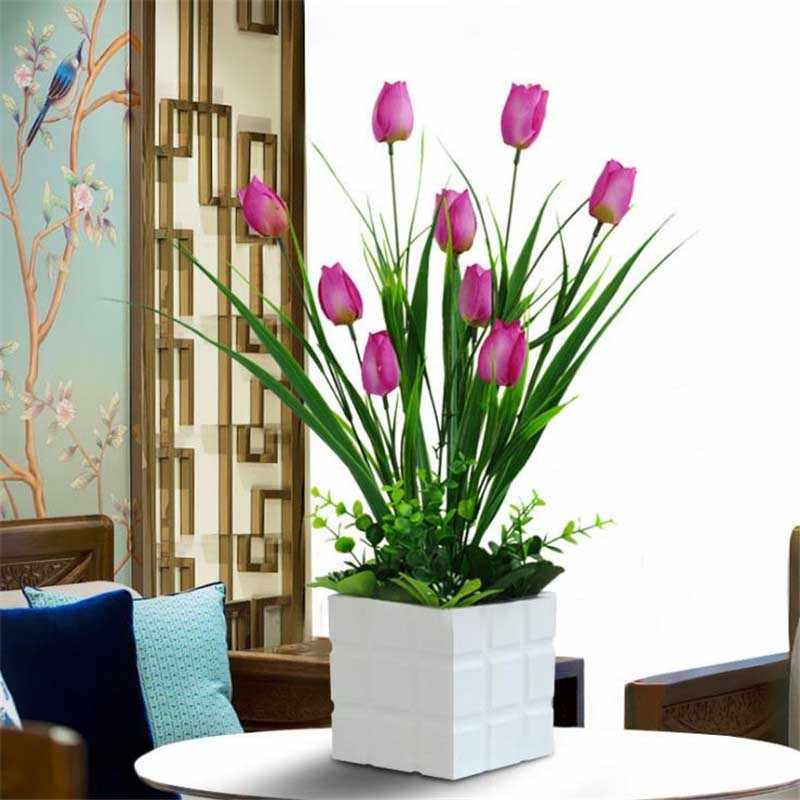 Artificial Plant Flowers Tulips Fake Flower Pots Creative Home Decoration Green Simulation Plants Potted Desktop Decoration Aliexpress