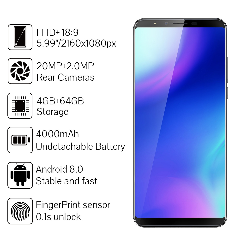 """Image 2 - Cubot X18 Plus Smartphone MT6750T Octa Core 4GB RAM 64GB ROM 5.99"""" 18:9 FHD+Original Android 8.0 4000mAh Rear Dual Camera 4G LTE-in Cellphones from Cellphones & Telecommunications"""