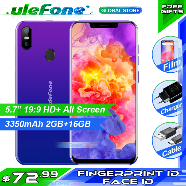 Ulefone S10 Pro Mobile Phone 5.7 HD+ 19:9 MT6739WA Quad Core 16GB 13MP+5MP Face Unlock Android 8.1 4G Smartphone with free gift