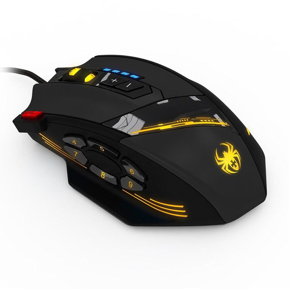 ZELOTES C-12 cable USB ratón óptico del juego de 12 Botones programables juego de ordenador ratones DPI ajustable 7 luces LED