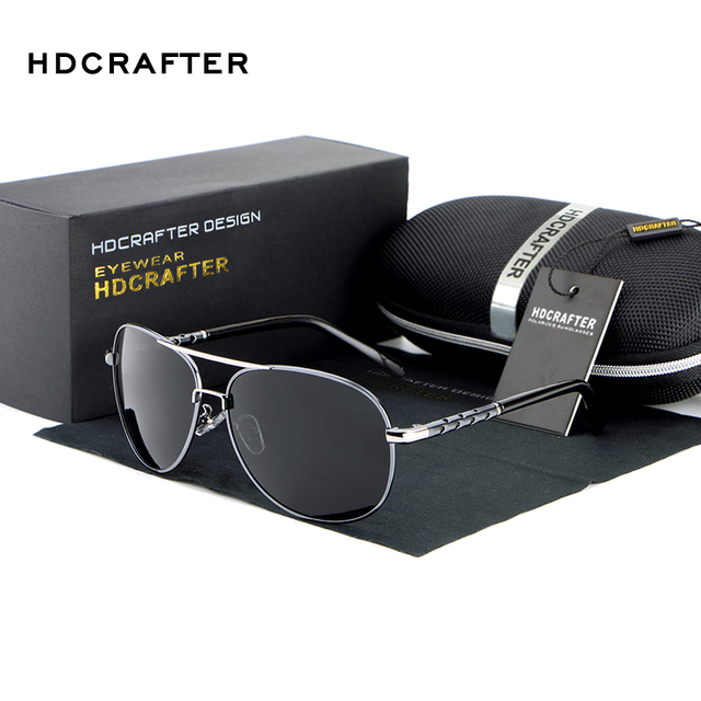 HDCRAFTER Men Polarized Aviator Sunglasses New brand designer Aluminum Magnesium Driving Sport Male Fashion Sunglasses Oculos
