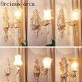 Европейский стиль  сплав  кристалл  настенная лампа для гостиной  фон для спальни  американский стиль  современный простой нефритовый насте...
