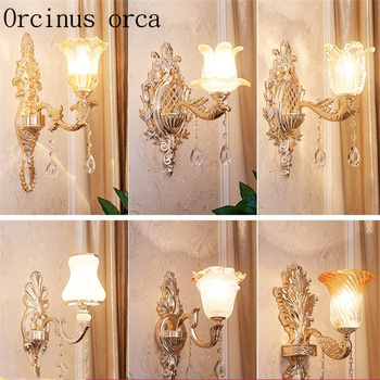 European style alloy crystal wall lamp living room background wall bedroom American style modern simple jade wall lamp