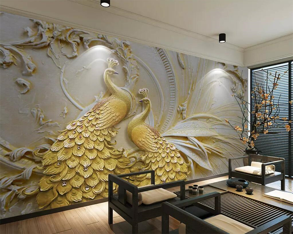 beibehang Wallpaper mural 3D embossed golden peacock TV background wall painting living room bedroom 3d wallpaper background