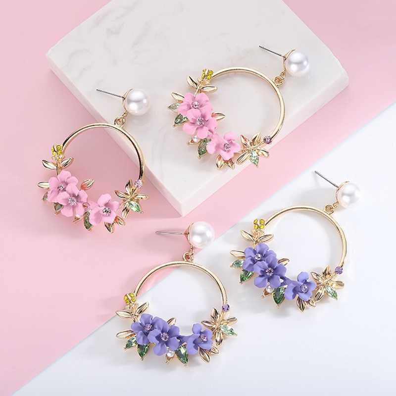 New flower earrings ins colored soft clay cherry blossom earrings Ring lace ring pearl Birthday gift wild dinner jewelry