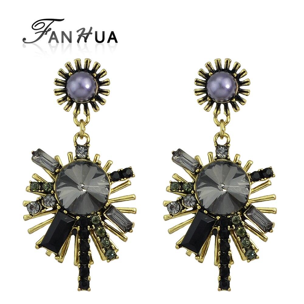 Fanhua New Arrival Jewelry White Black Rhinestone Geometric Dangle Earrings  Vintage Jewelry Brincos(china (