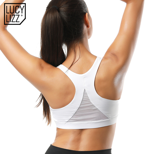 52fa000a06 Lucylizz Back Mesh Triangle Push Up Sports Bra Top Fitness Racerback Bras  Women Gym Sport Top
