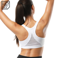 Lucylizz Mesh Patchwork Push Up Sports Bra Top Fitness Bras Women Brassiere Gym Sport Top Padded