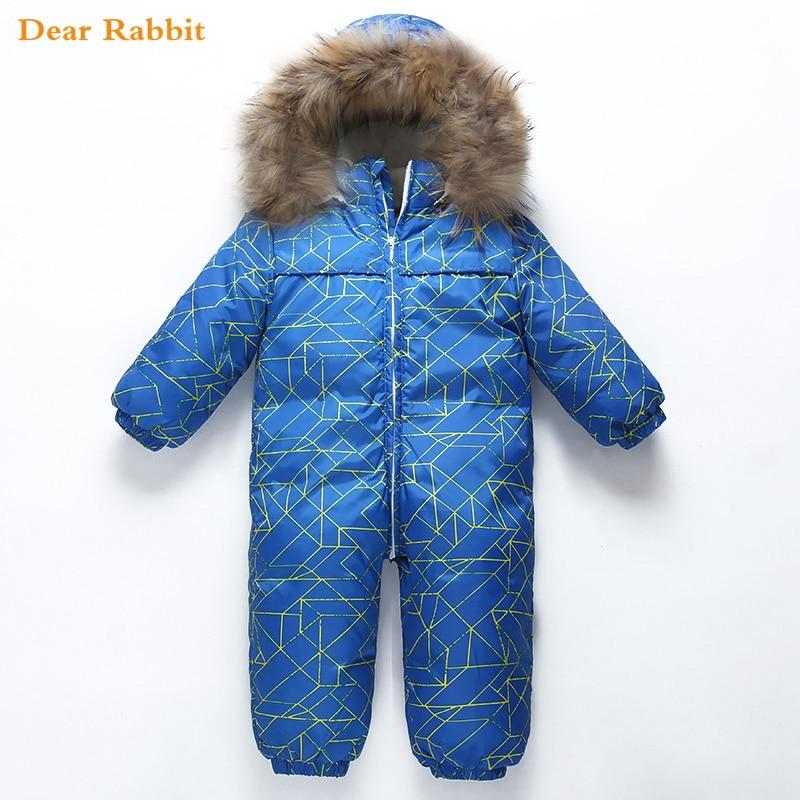 30 degree new Baby snowsuit snow wear winter warm clothing fleece jumpsuit 90 White duck