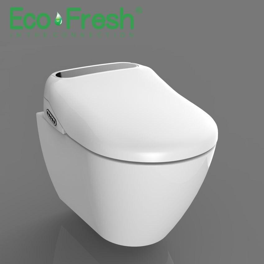 Ecofresh Inteligente assento do vaso sanitário Alongar V. u-forma Elétrica Bidé tampa calor levou luz lavagem bocal massagem seca mulher criança de idade