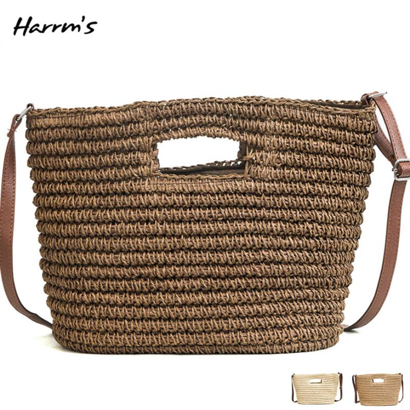 2018 Handbags Women Durable Weave Straw Beach Bags Handle Bags Female Causal Totes Shoulder Messenger Beach Large Capacity Bags