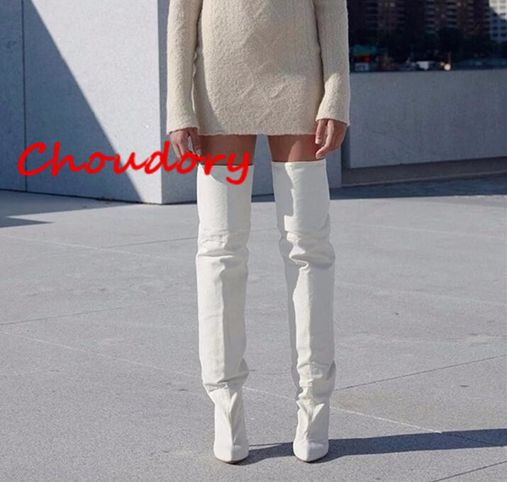 Choudory New Arrival Women Thigh High Boots Kim Kardashian White Microfiber Bootie Thin High Heel Over the Knee Boots Plus Size 2018 sexy women thigh high knit boots stretch fabric kim kardashian sock bootie chunky high heel women elastic desert boots