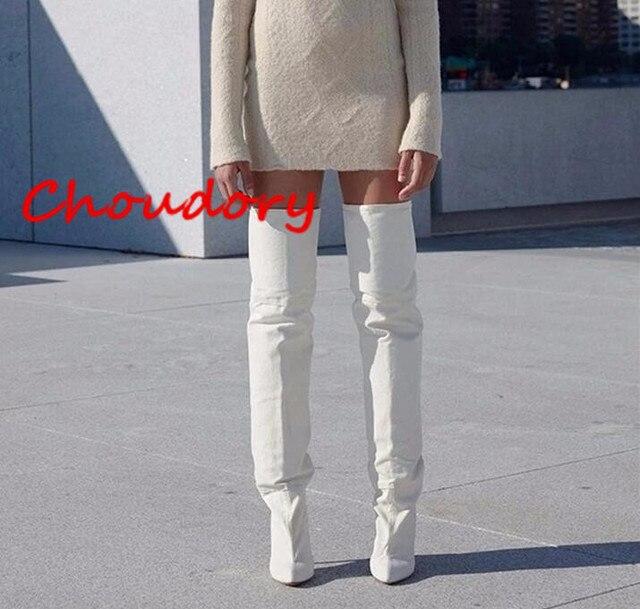 42062f456c4a8c Choudory Nouvelle Arrivée Femmes Cuissardes Bottes Kim Kardashian Blanc  microfibre Bootie Mince Haut Talon Sur le