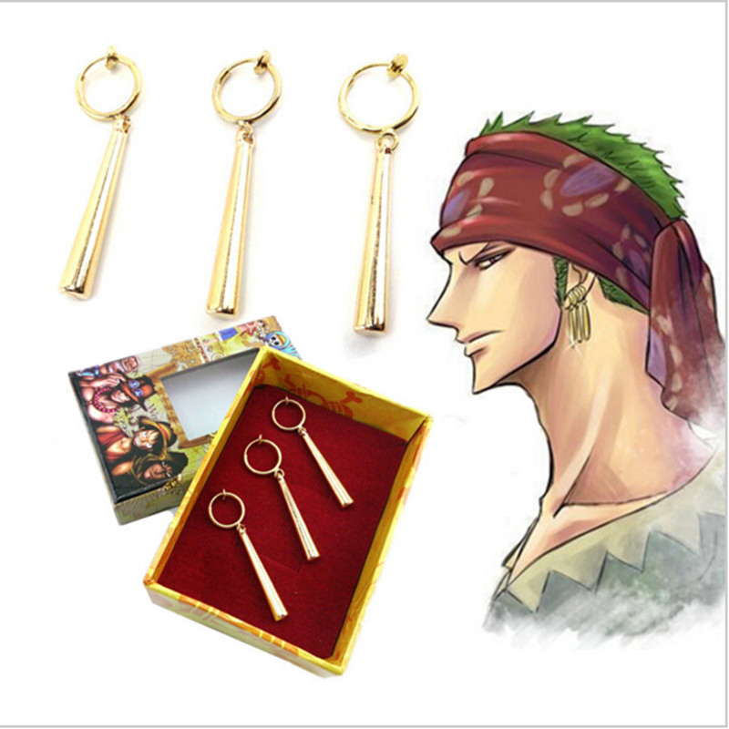 3PCS/1SET One Piece Pirate Hunter Roronoa Zoro Prop Accessories Ear Drop Dangle Earrings Jewelry Pendant Cosplay Accessories