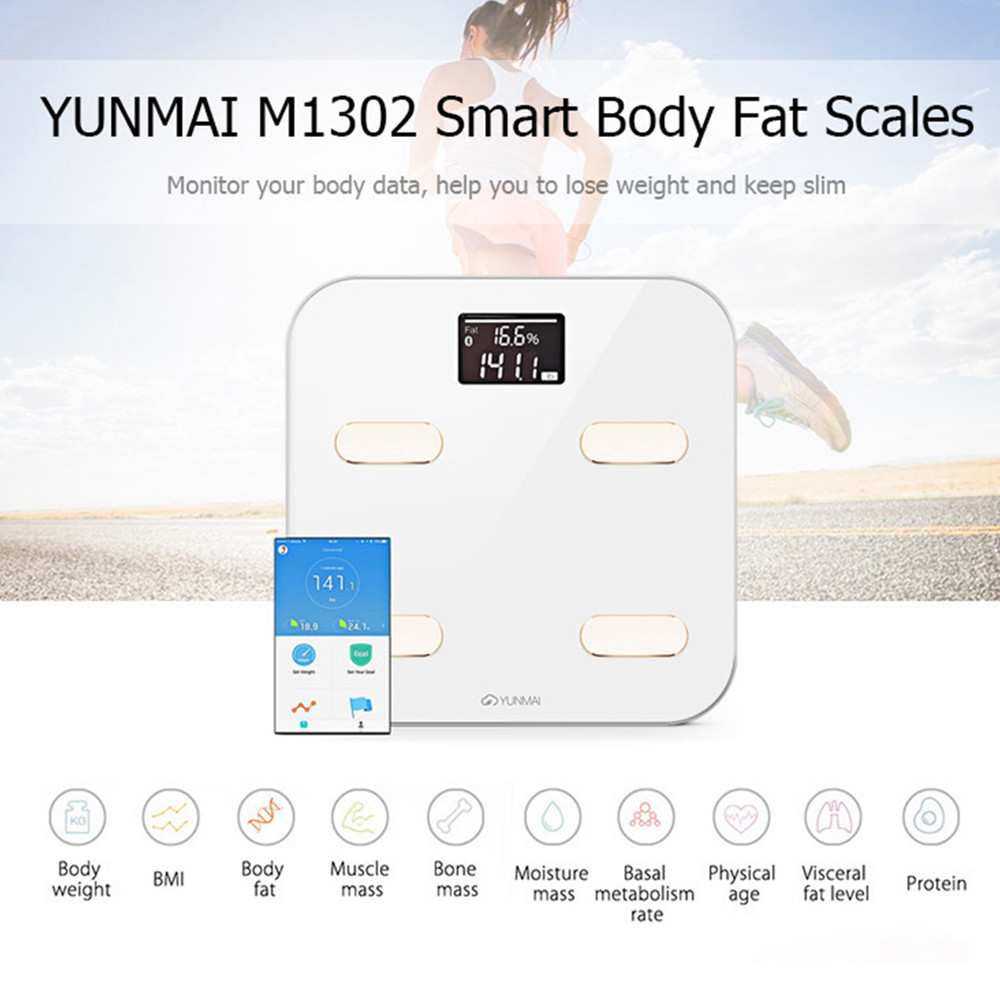 100% Original Yunmai M1302 Smart Skala Premium Gesundheit Skala Unterstützung Bluetooth App Digital Fett Prozentsatz Körper Fett Waage Belebende Durchblutung Und Schmerzen Stoppen