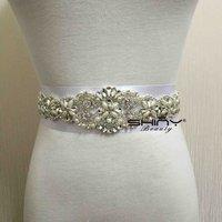 Crystal Rhinestone Sash Diamond White Bridal Sash Off White Ivory Wedding Sash Blet RA214