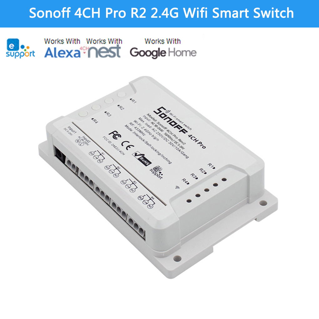 Sonoff 4CH Pro R2 Smart Switch 4 Canaux 433 MHz 2.4G Wifi Smart Switch pour les Appareils Ménagers