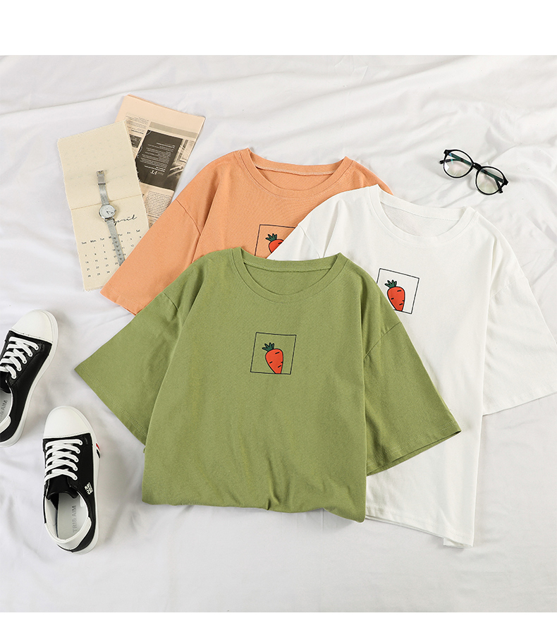 HTB1RL5TbLBj uVjSZFpq6A0SXXaD - 90s girl Fashion T Shirt Women Kawaii carrot Print Short Sleeved O-neck T-shirts Vintage Ullzang Tshirt Harajuku Top Tees Female