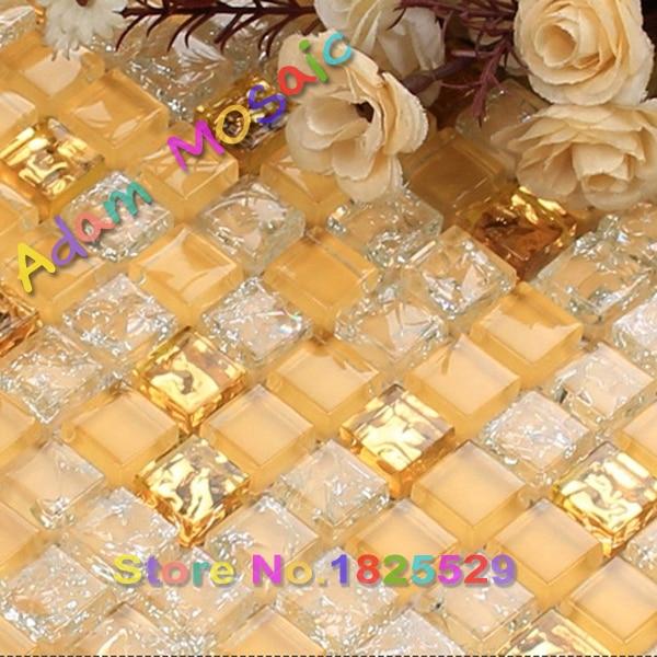 transparent white tiles crackle mosaic golden wall tile mirror ...
