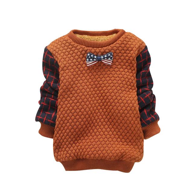 2016 Outono Inverno Novo Das Meninas do Menino Suéter Losango Xadrez Casaco Camisola Engrosse Bow-knot Pulôver Camisola 2 Color