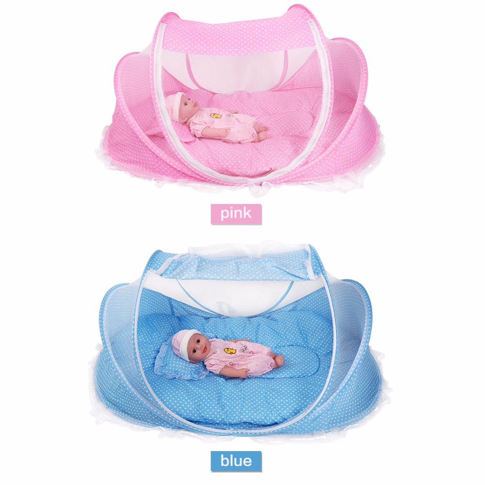Crib tents for babies - Portable Foldable Infant Crib Netting Mosquito Net Anti Bug Crib Cradle Tent With Mattress Pillow