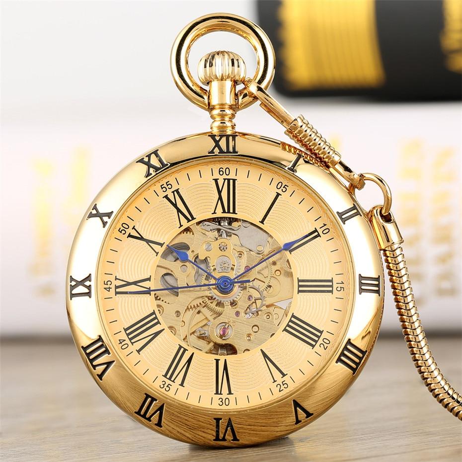 Antique Roman Numerals Display Self Winding Mechanical Pocket Watch Vintage Pendant Clock Gentlemen Pocket Clock Gifts Reloj
