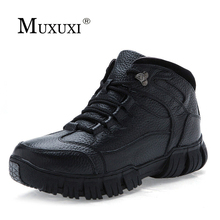 Size 38-46 Winter Natural Leather Men Quality Ankle Boots Mens Water Proof Work Shoes Zapatos Hombre warm snow pursh boots
