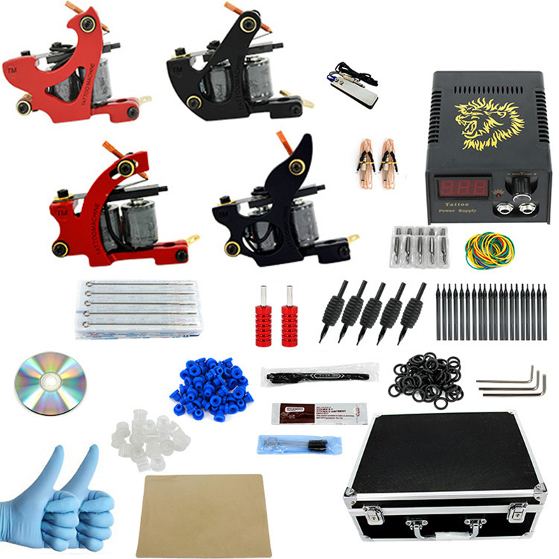 Complete profession Tattoo kits 10 wrap coils 4 guns machine Tattoo needles set power supply disposable needle with Toolbox p80 panasonic happy shopping complete air cutter torches a machine complete torch 4 meter