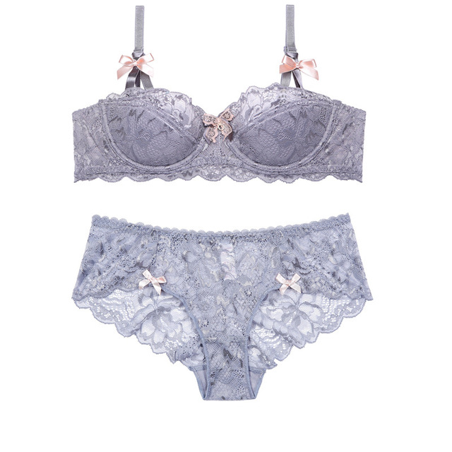 d63103bfc6 Hot Selling A B C D Half Cup Lace Bow Bra Set Summer Cotton Thin Girl  Gather Lingerie Sets of Underwear Women