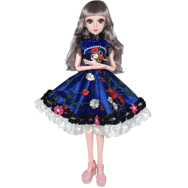 60cm 20 Movable Joints White Skin Bjd Dolls Princess Dress Girl Toys 3D Eyes Clothes Shoes Accessories BJD Doll Toy for Girls