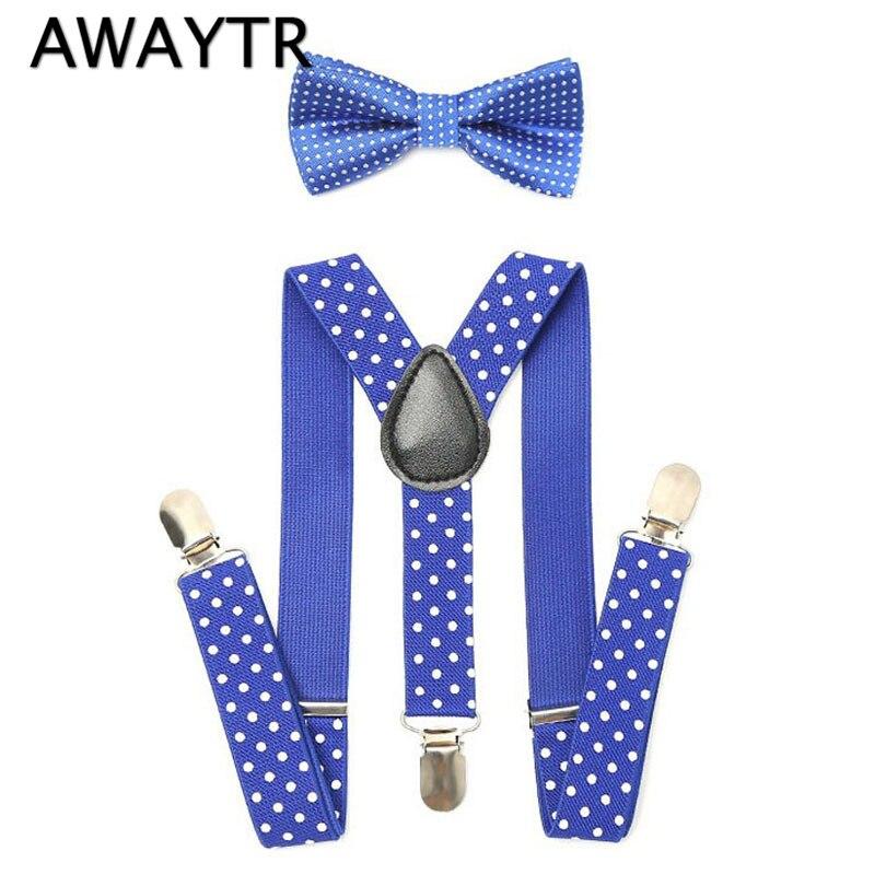 1Set Children Suspenders Bow Tie Bow Tie Ties Adjustable Boys Girls Kid 3 Clip-on Y Back Elastic Braces Suspenders
