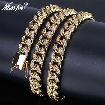 """MISSFOX Hip Hop USA Men's Cuban Link 10mm AAA CZ Stones 24K Gold Plated Fully Iced-Out 18"""" 22"""" Chain Long Necklace"""