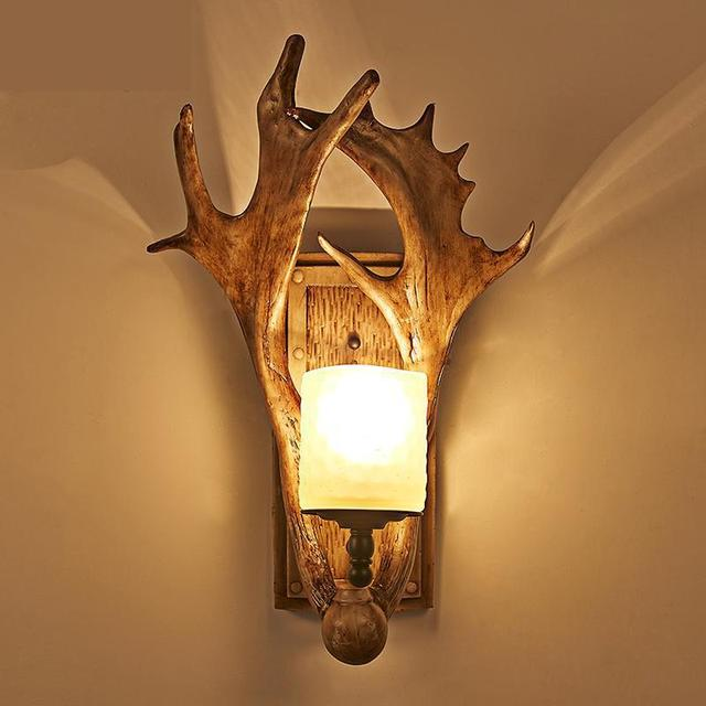 Antlers Led wall Light American Country Christmas Decorative Wall Lamp Balcony Stairs lights Retro Nostalgic Arandela horn lamps