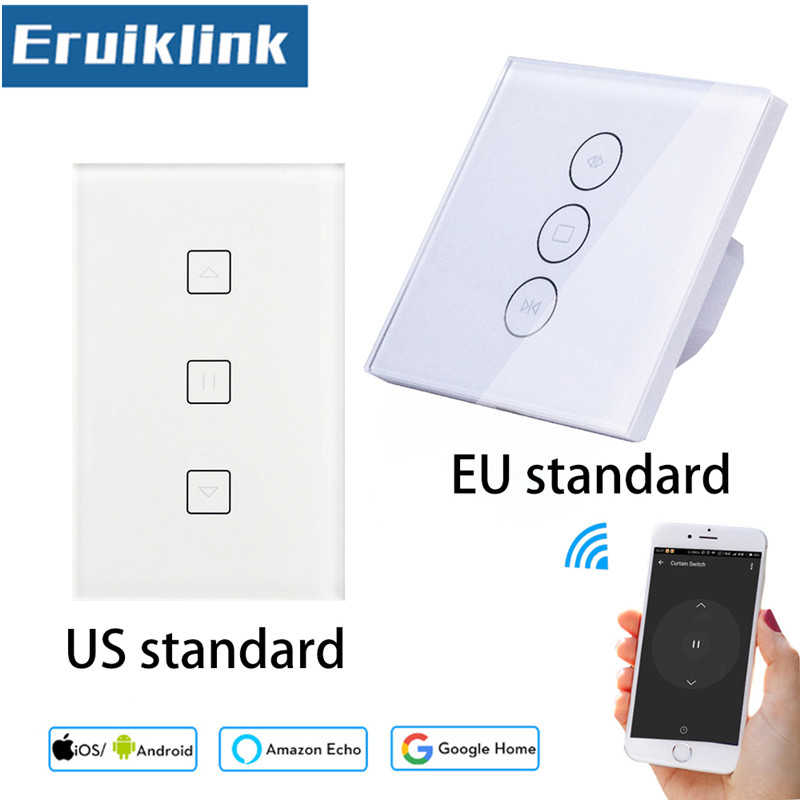 EU/UK Standard Wall Touch Curtain Switch,Glass Panel WiFi Control via APP or Voice Control by Alexa Google Home Smart Home