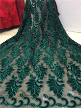Latest Dark green African Lace Fabric with velvet lace Fashion African Net Lace Fabric High Quality Tulle French Lace Fabric