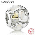 Fits Pandora Charms Bracelet 100% 925 Sterling Silver Beads 14K Gold Plated Luminous Hearts Charm Jewelry