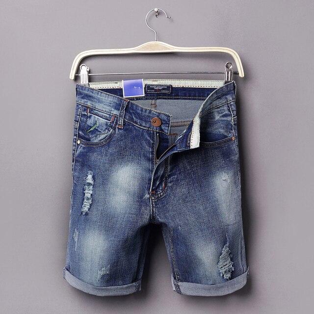 2017 лето бермуды мужские джинсовые шорты упражнение шорты мужчины повседневная разорвал джинсы упражнение бермуды boardshorts размер высокое качество 36