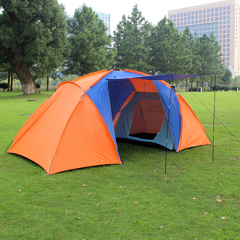 Prix pour 2017 Nouveau style de haute qualité grand touristique tente double couche deux chambre camp 4 personne grand camping tente famille étanche tentes