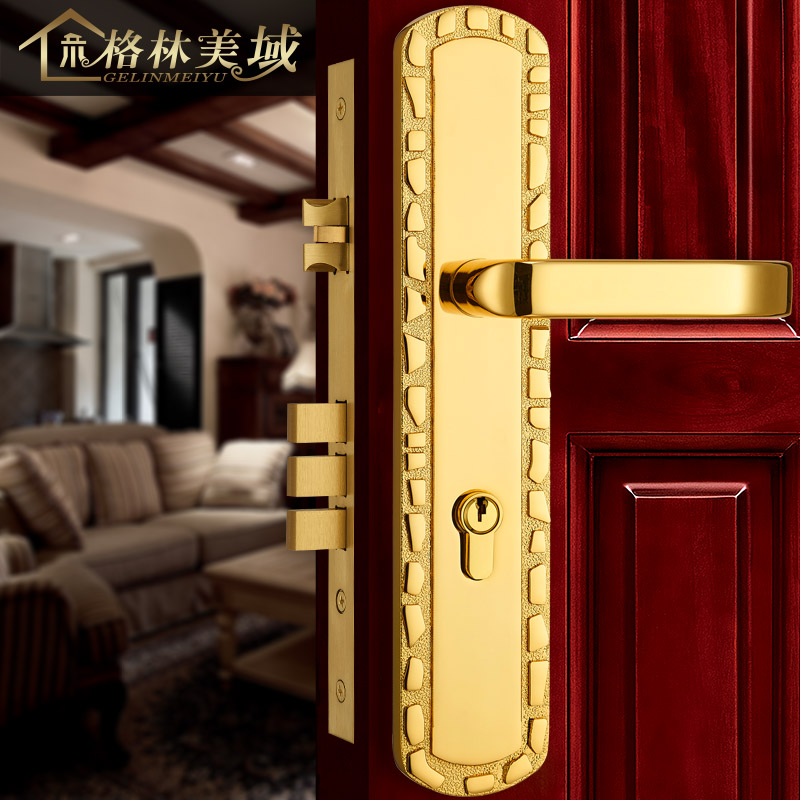 Pure copper door lock European split full copper door lock villa interior door lock full copper door lock European simple european lock pure copper antique interior wooden door lock full copper door lock villa bedroom door lock