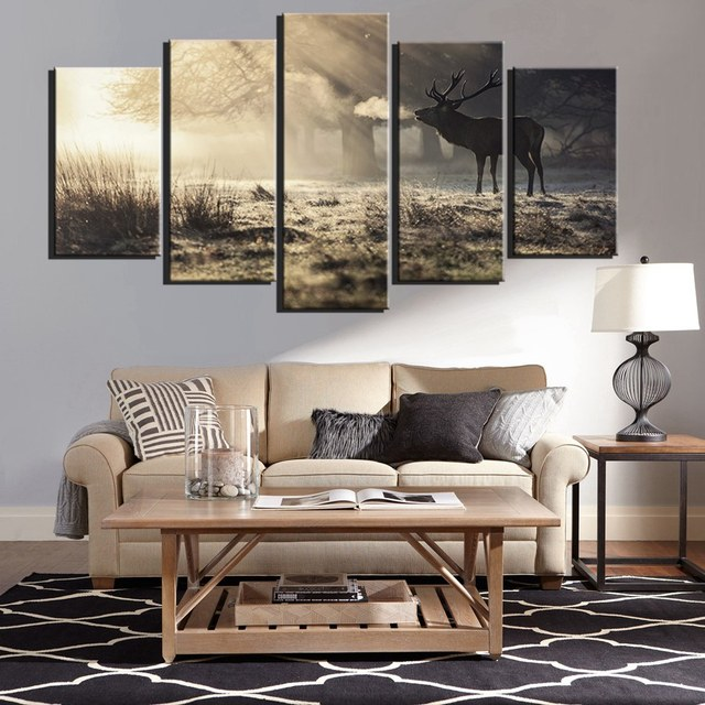 US $15.64 8% OFF|Aliexpress.com : Buy Deer Wall Art Canvas Prints Sunset  Winnter Forest Animal Paintings For Dining Room Wall Decor Poster Art  Artwork ...