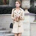 1 PC Double Breasted Trench Coat Para As Mulheres Fino Casaco Longo Casaco Feminino Abrigos Mujer Primavera Outono Outerwear ZZ3505