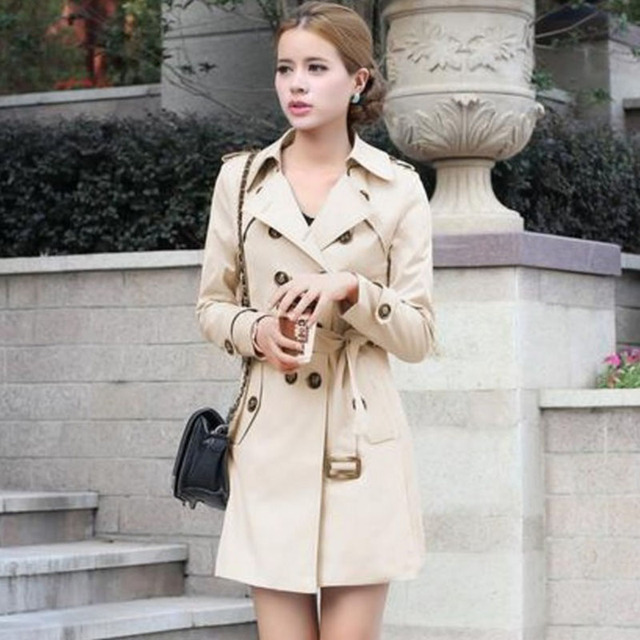1PC Double Breasted Trench Coat For Women Slim Long Coat Casaco Feminino Abrigos Mujer Spring Autumn Outerwear ZZ3505