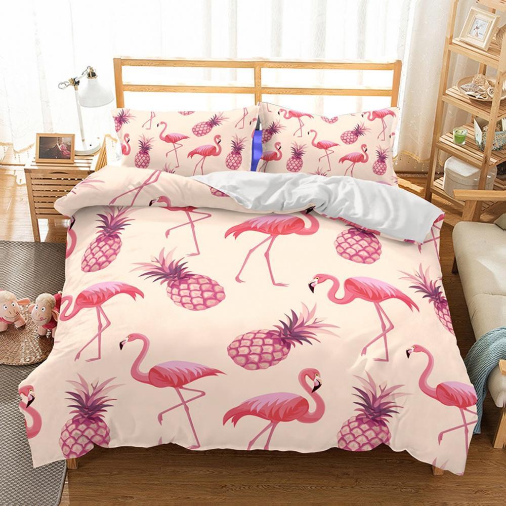 Cartoon Pink Flamingo Bedding Sets 2/3pcs Tropical Fruit Pineapple Pattern Bed Linen Set Duvet Cover Pillowcases