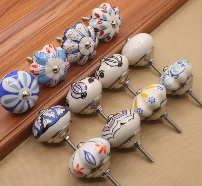 Multicolor Cabinet Handles and Knobs Cabinet Knobs and Handles High Quality Furniture Ceramic Knobs hand painted art ceramic cabinet knobs and handles furniture handles for kids