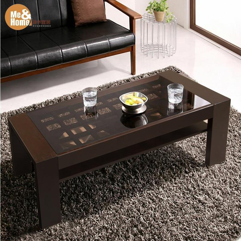 Madera vidrio mesa de caf for Mesas de centro madera y cristal
