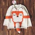 2016 новые новорожденных девочек и мальчиков осень/зима теплая мультфильм фокс свитера дети пуловеры верхняя одежда свитер ребенка бесплатная доставка