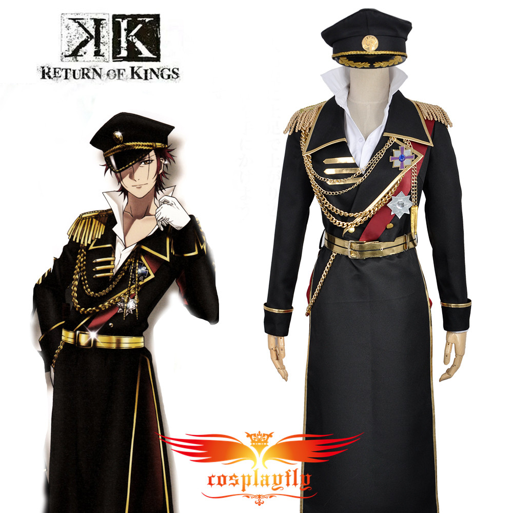 W0844 K Anime Return Of Kings Suoh Mikoto Military Uniform Outfit Clothing Adult Cosplay Costume Custom with Wig and Wig Cap